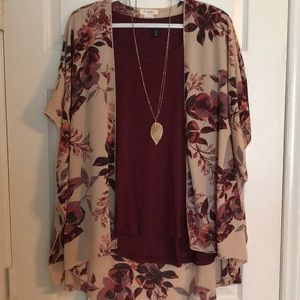 Gorgeous Floral Kimono- Tan and Burgundy/One Size